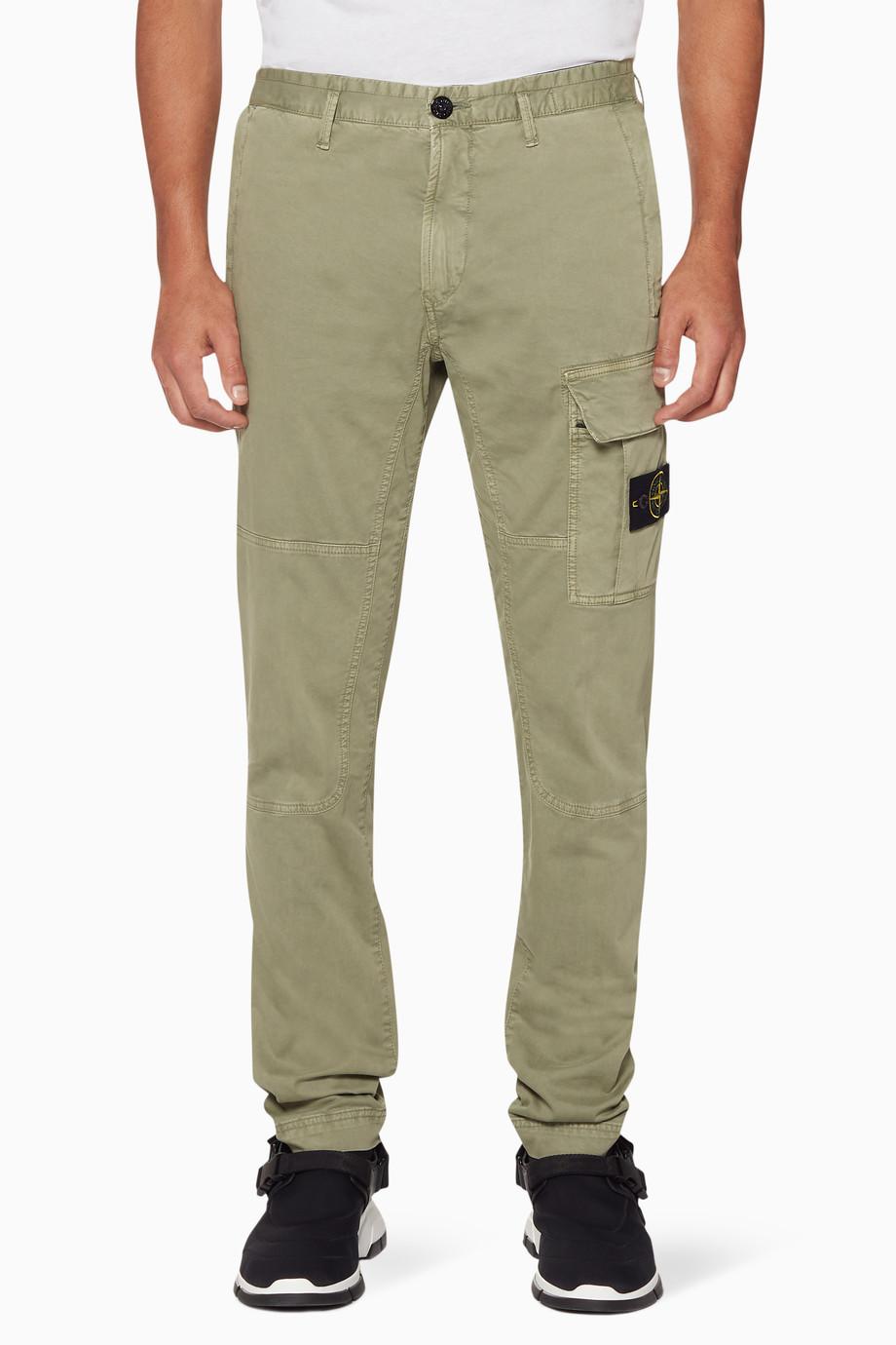 c7442802c Shop Stone Island Green Light-Green Cargo-Pocket Track Pants for Men ...