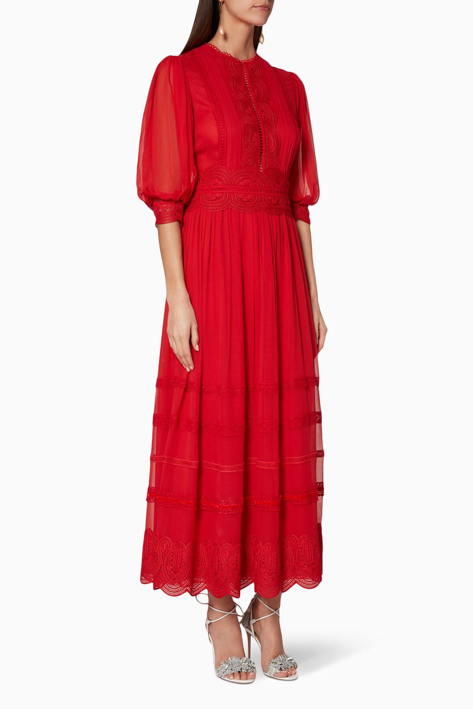 Shop Costarellos Red Red Scalloped Lace Trim Maxi Dress