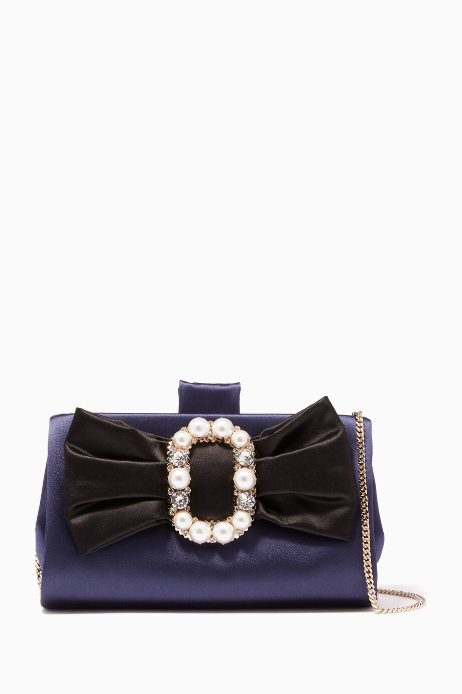 cb60408d81 Shop Roger Vivier Blue Navy Embellished Buckle Bow Satin Clutch for ...