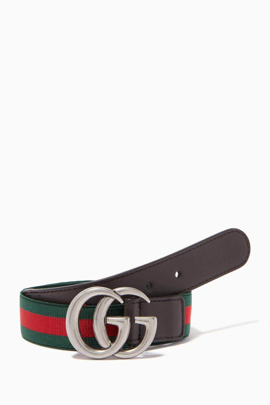 f03bd1555 Shop Gucci Brown Brown Striped 'GG' Logo Belt for Kids | Ounass UAE