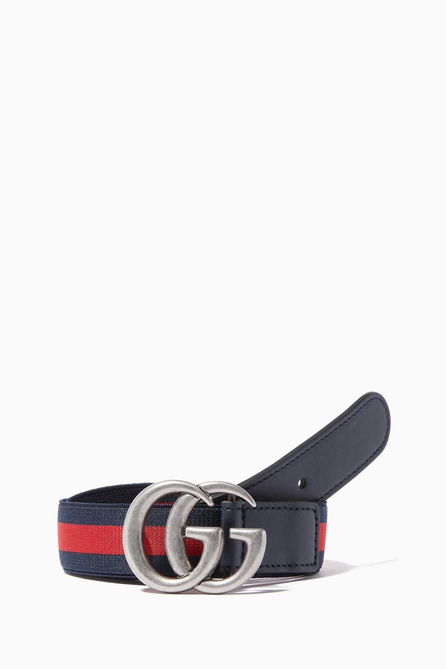 1a0b9cd86 Shop Gucci Blue Striped 'GG' Logo Belt for Kids | Ounass