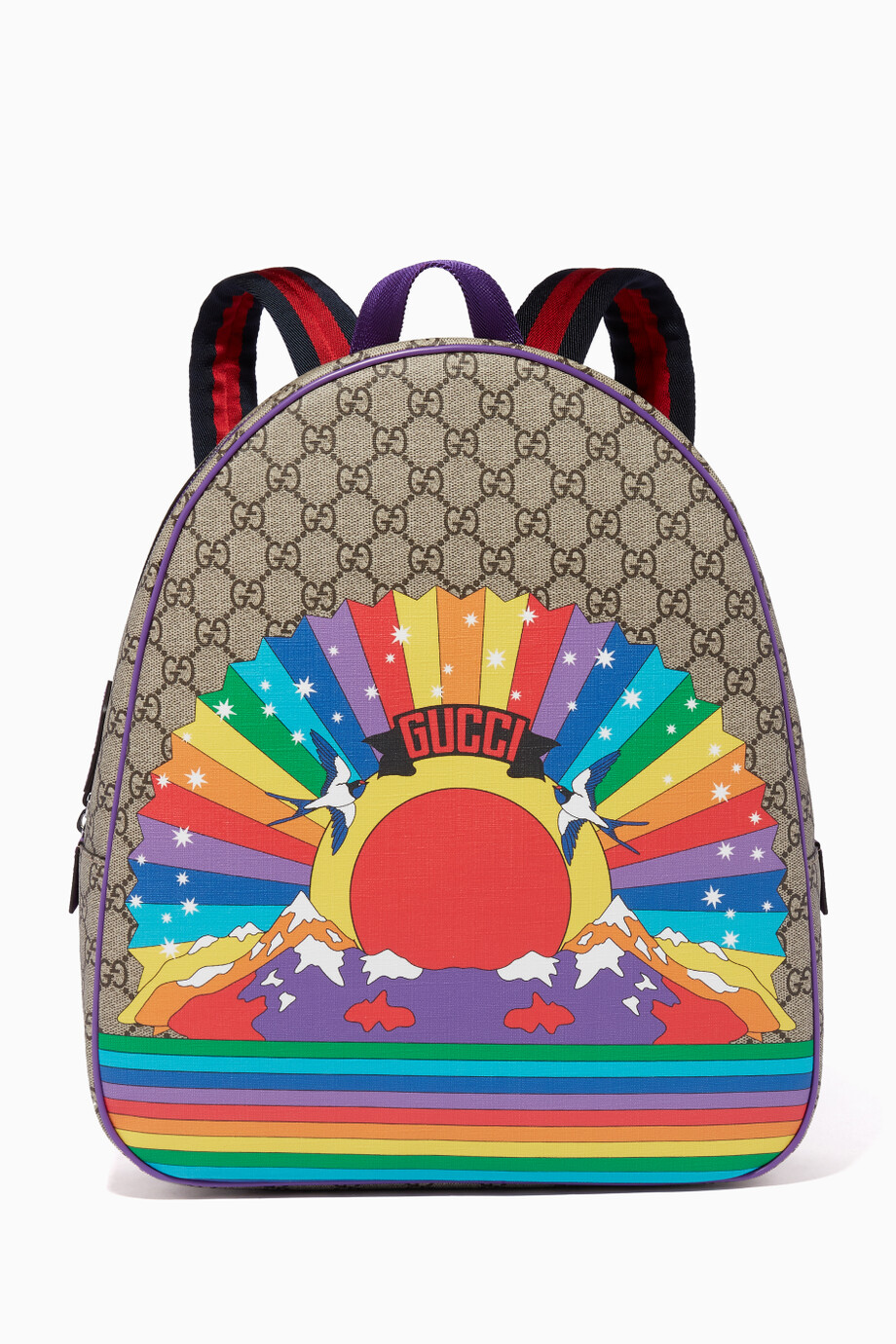 bc531da84386 Shop Gucci Brown Brown Rainbow-Print Backpack for Kids | Ounass