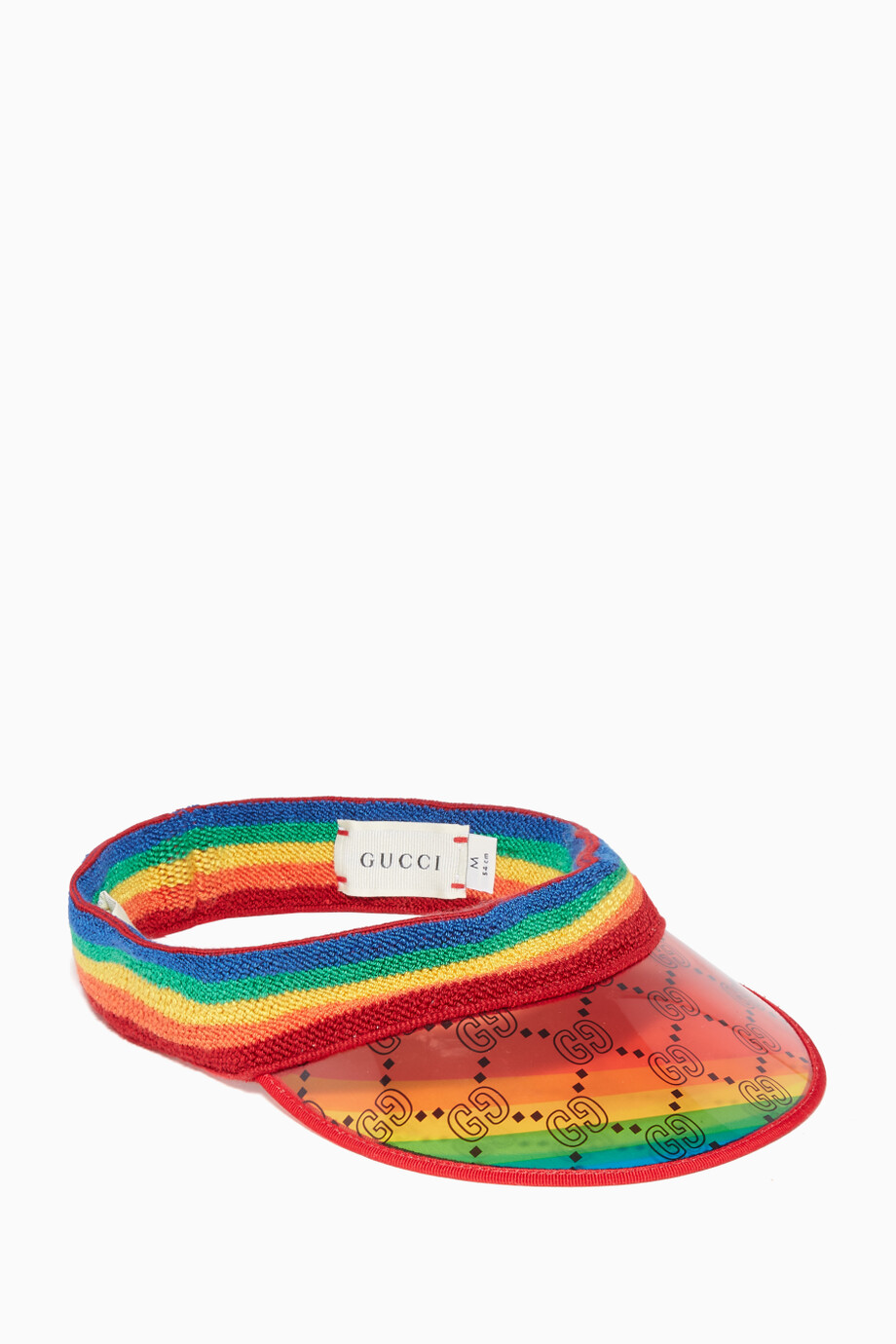 f7b3f67b773 Shop Gucci White Rainbow  GG  Print Vinyl Visor for Kids