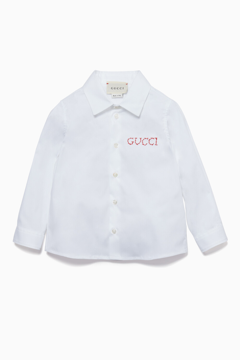 d1499c1b5 Shop Gucci White Logo Embroidered Shirt for Kids | Ounass