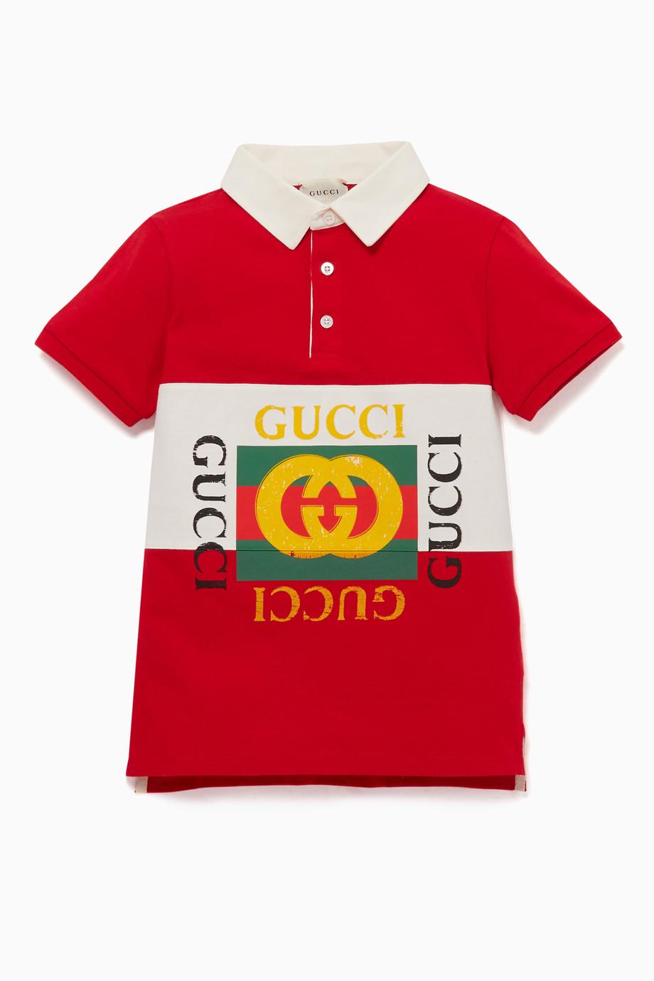 fde00b48366 Shop Gucci Red Vintage Logo Polo Shirt for Kids