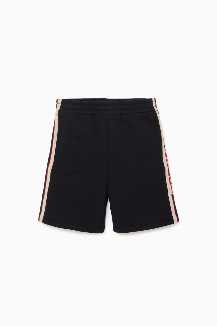 6315e04ee8b Shop Gucci Blue Logo Striped Jersey Shorts for Kids