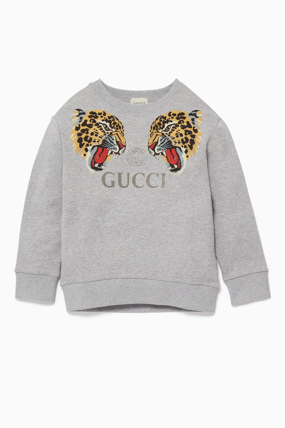 ccd02254c Shop Gucci Grey Grey Leopard Logo Sweatshirt for Kids | Ounass