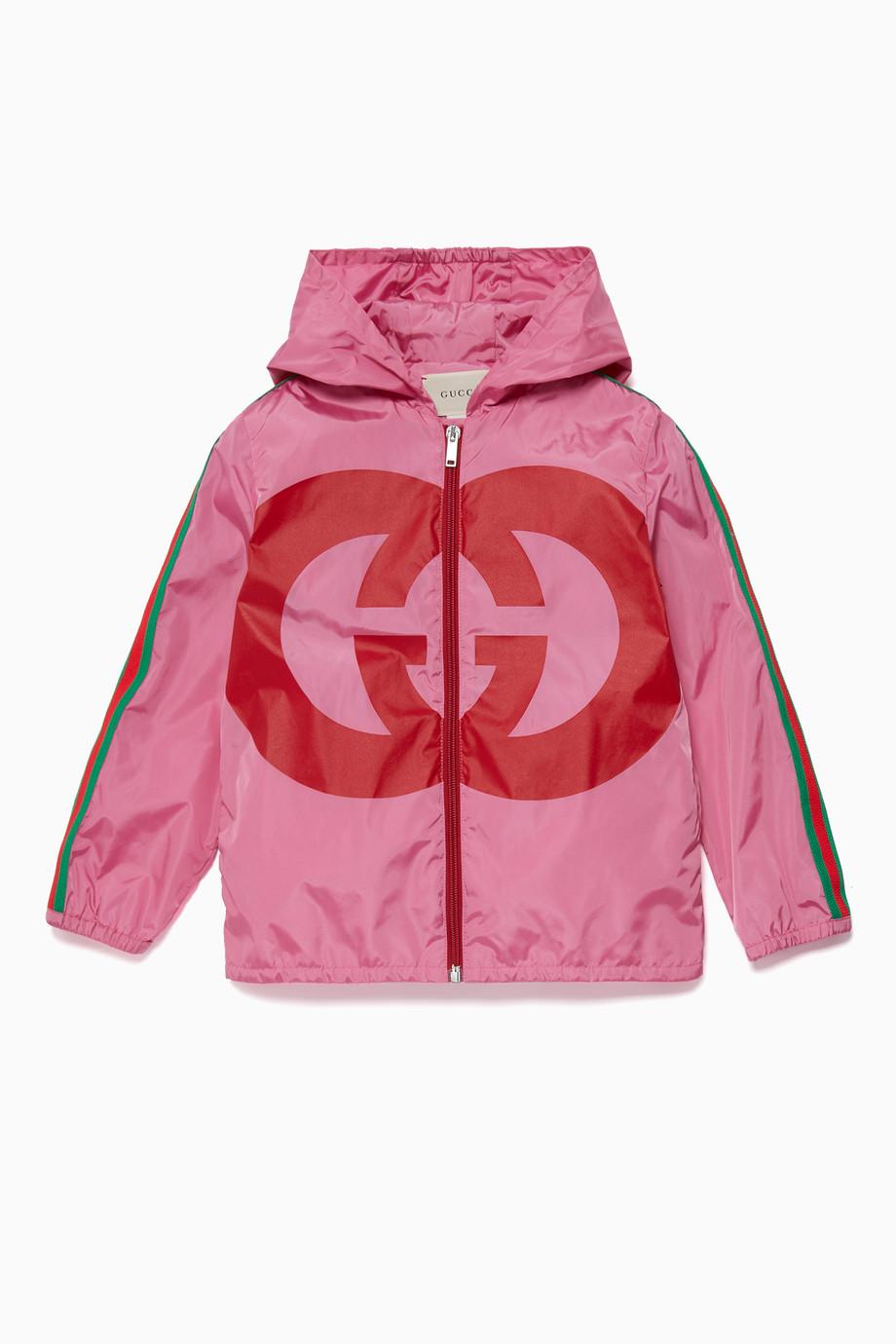 e404c01e7 Shop Gucci Pink Pink GG Logo Jacket for Kids | Ounass