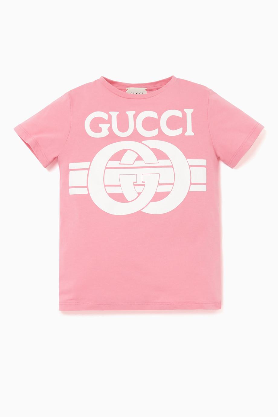 0de7a3b00 Shop Gucci Pink Logo Print T-Shirt for Kids | Ounass Saudi