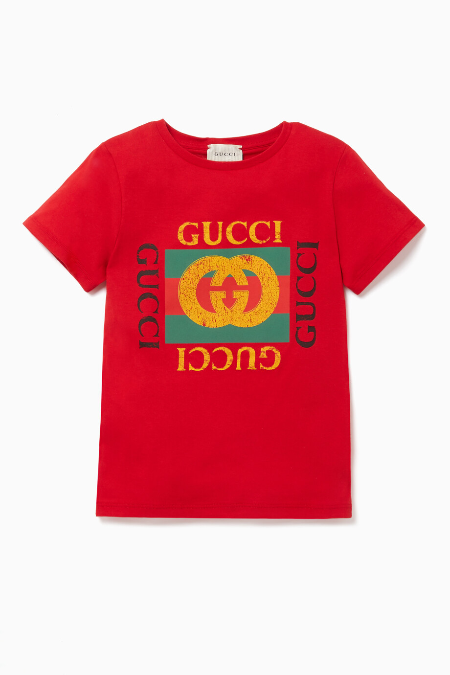 de76be2c8 Shop Gucci Red Retro Logo Print T-Shirt for Kids | Ounass Saudi