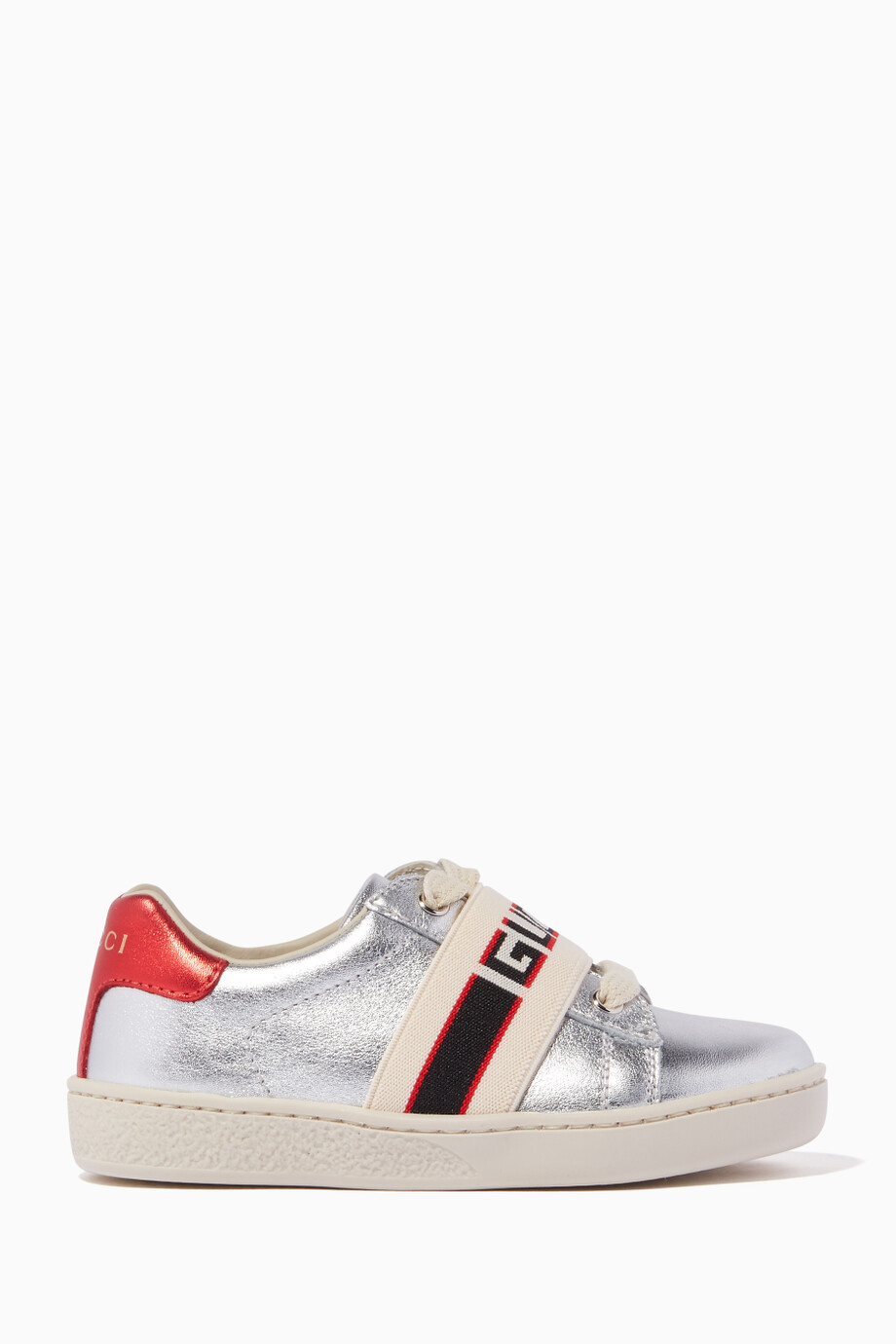 0562b8d45 Shop Gucci Silver Ace Leather Sneakers for Kids | Ounass Saudi