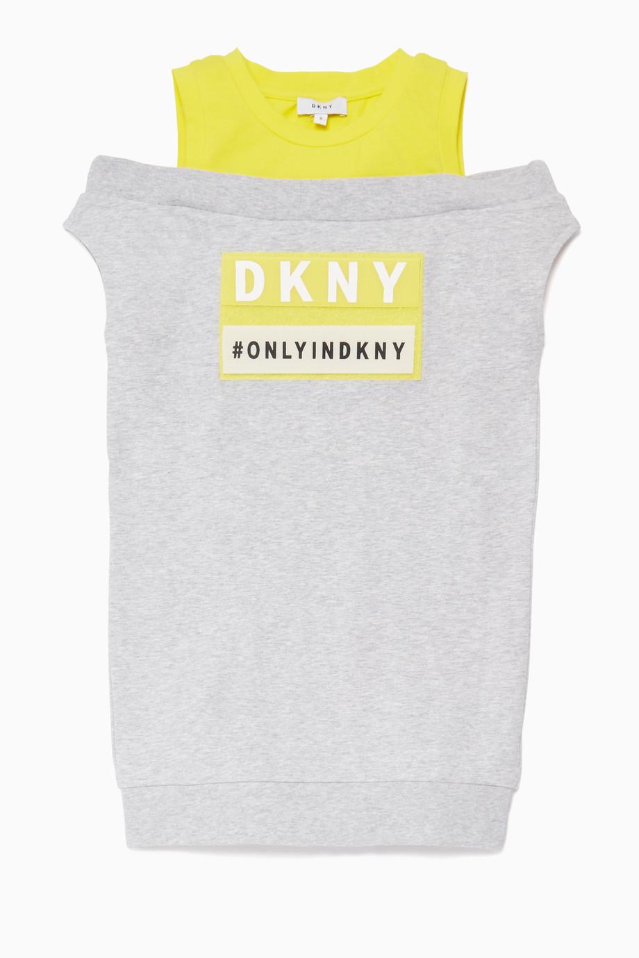 0e835ec91 تسوق فستان بدون أكمام بشريط بشعار الماركة رمادي DKNY رمادي للأطفال ...
