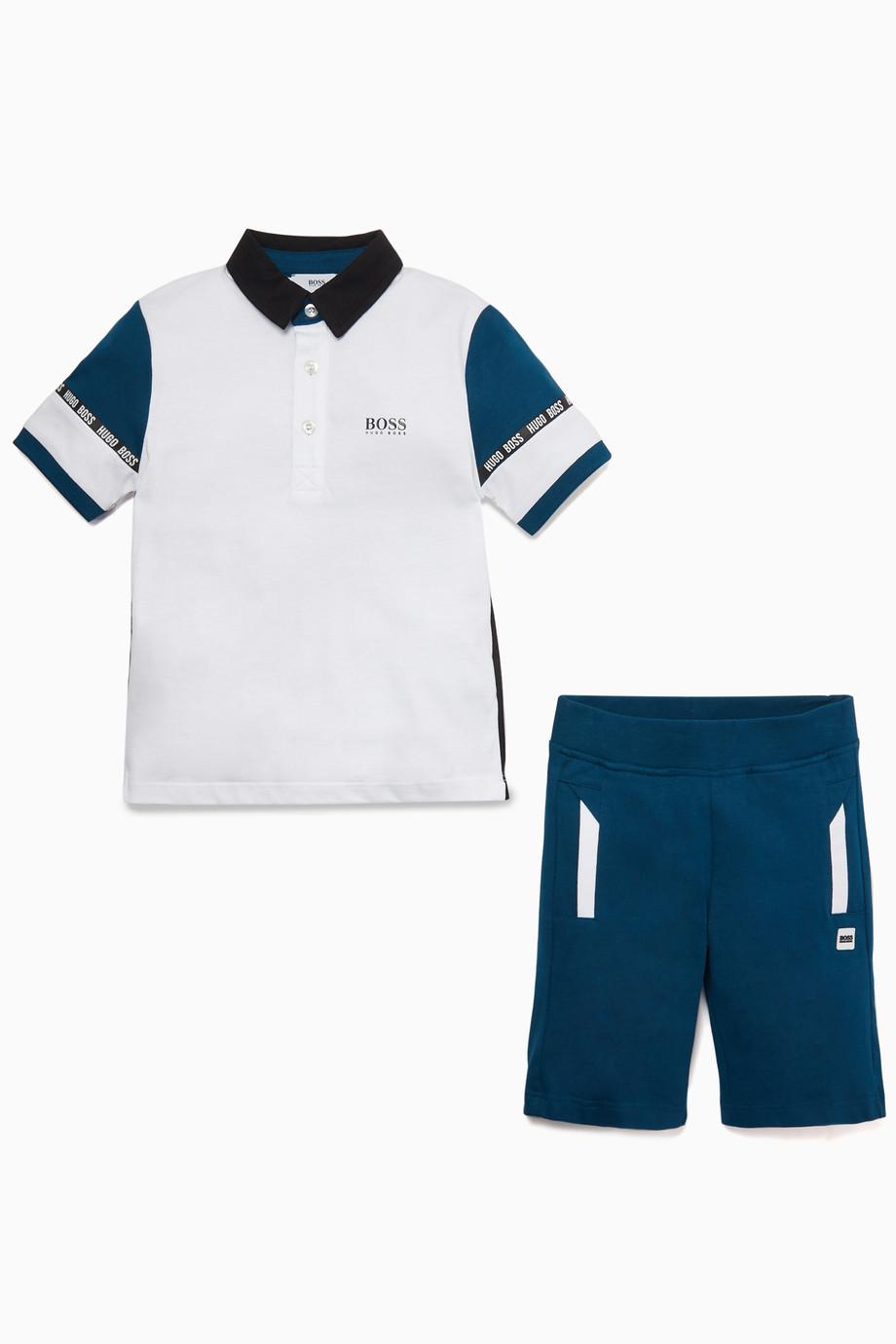 6f1558560c559 Shop Boss White Polo Shirt & Shorts Set for Kids | Ounass Saudi