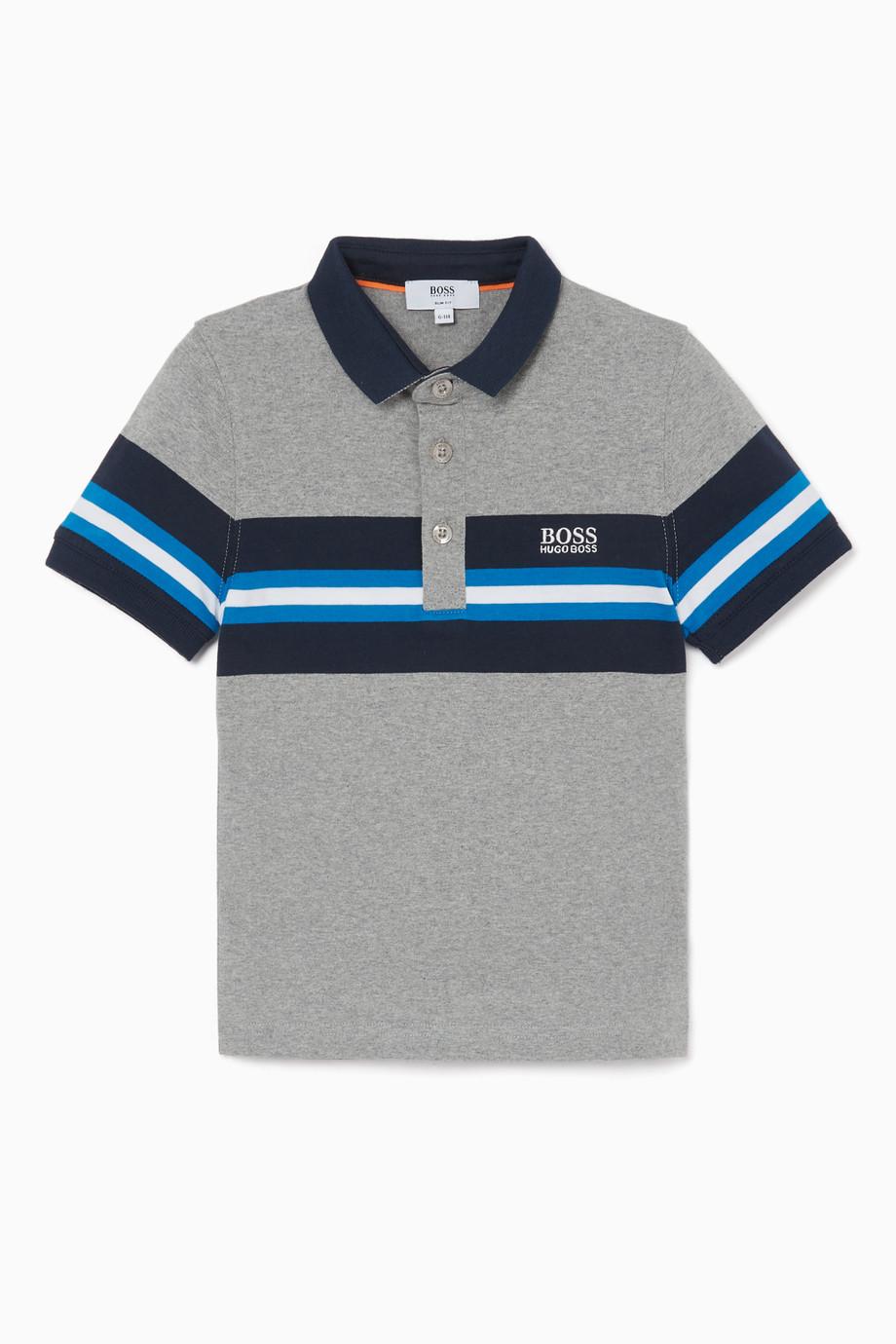 b7e5e929 Shop Boss Grey Grey Colour-Block Polo Shirt for Kids | Ounass