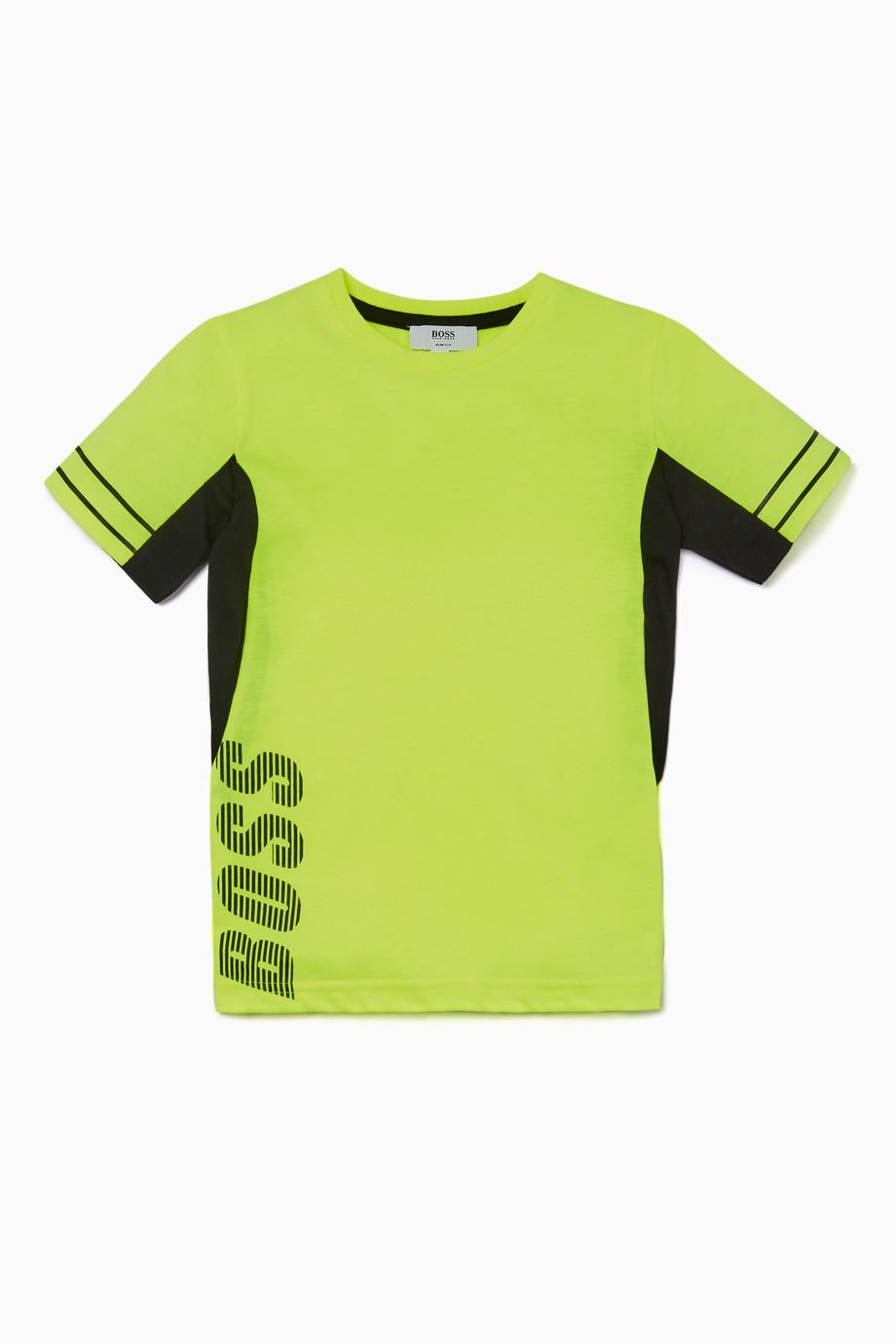 95d0c6d284bb Shop Boss Yellow Neon-Yellow Side Logo T-Shirt for Kids | Ounass