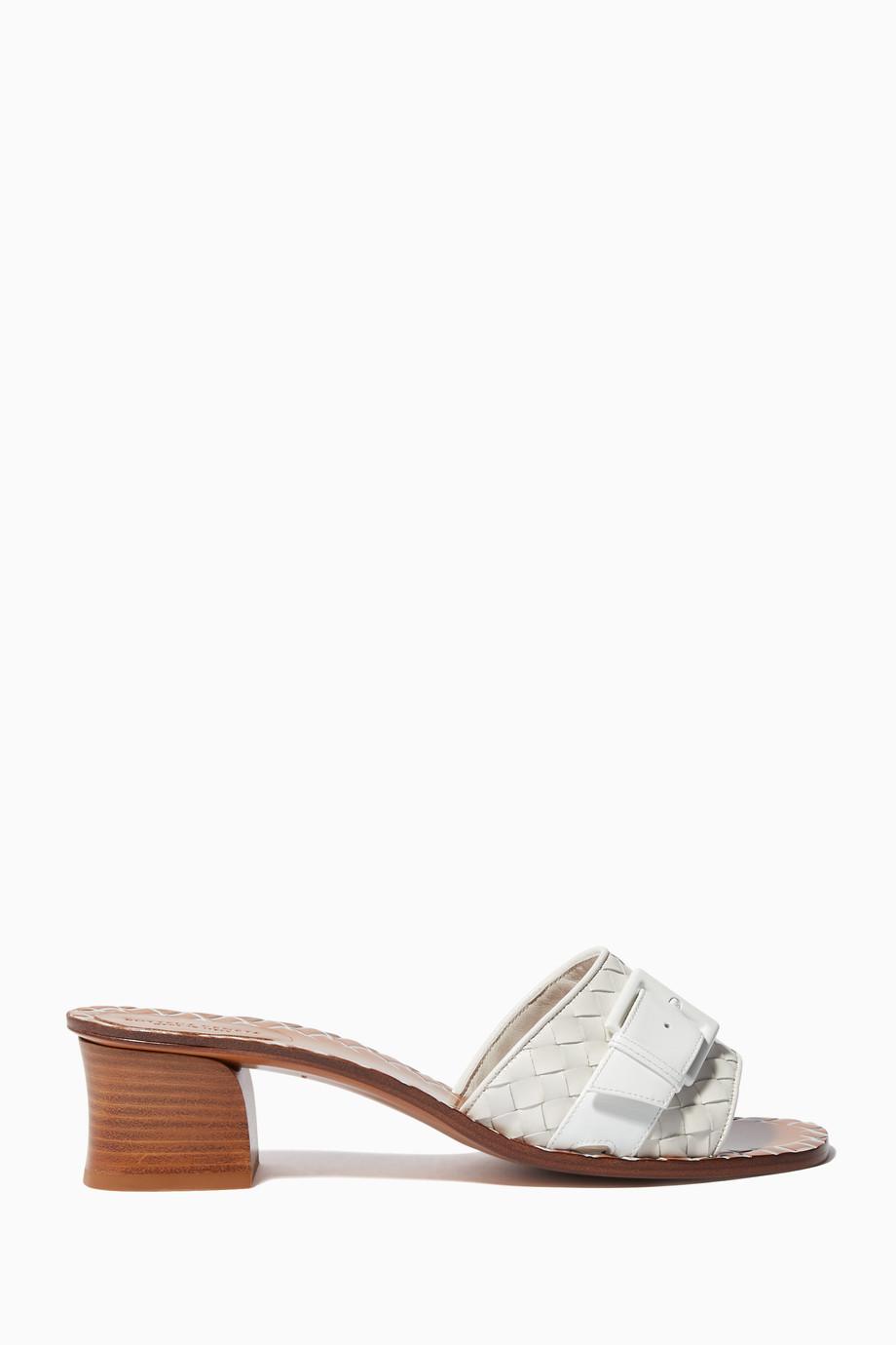 ea9a8d33a6f7b Shop Bottega Veneta White Ravello Patent Leather Mule Sandal for ...