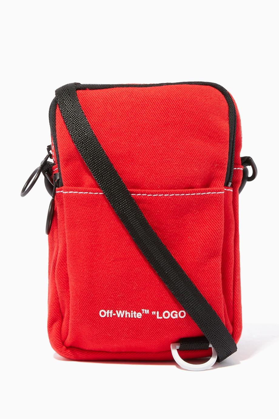 cd52b28f4 Shop Off-White Red Red Denim Hip Bag for Men | Ounass UAE