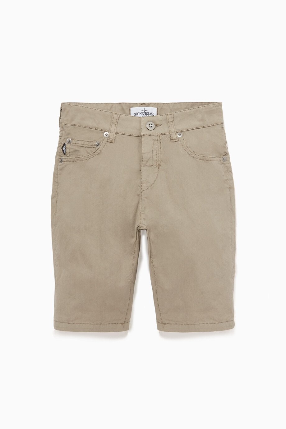 c8a6756ae Shop Stone Island Grey Logo-Patch Bermuda Shorts for Kids | Ounass