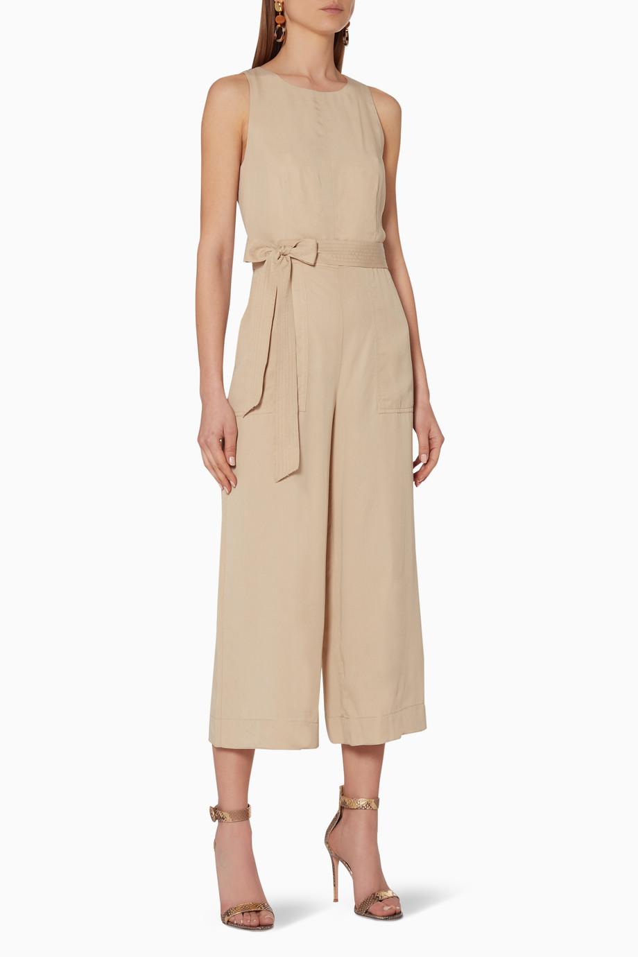 63fdace9 Shop BANANA REPUBLIC Brown Cropped Wide-Leg Jumpsuit for ...
