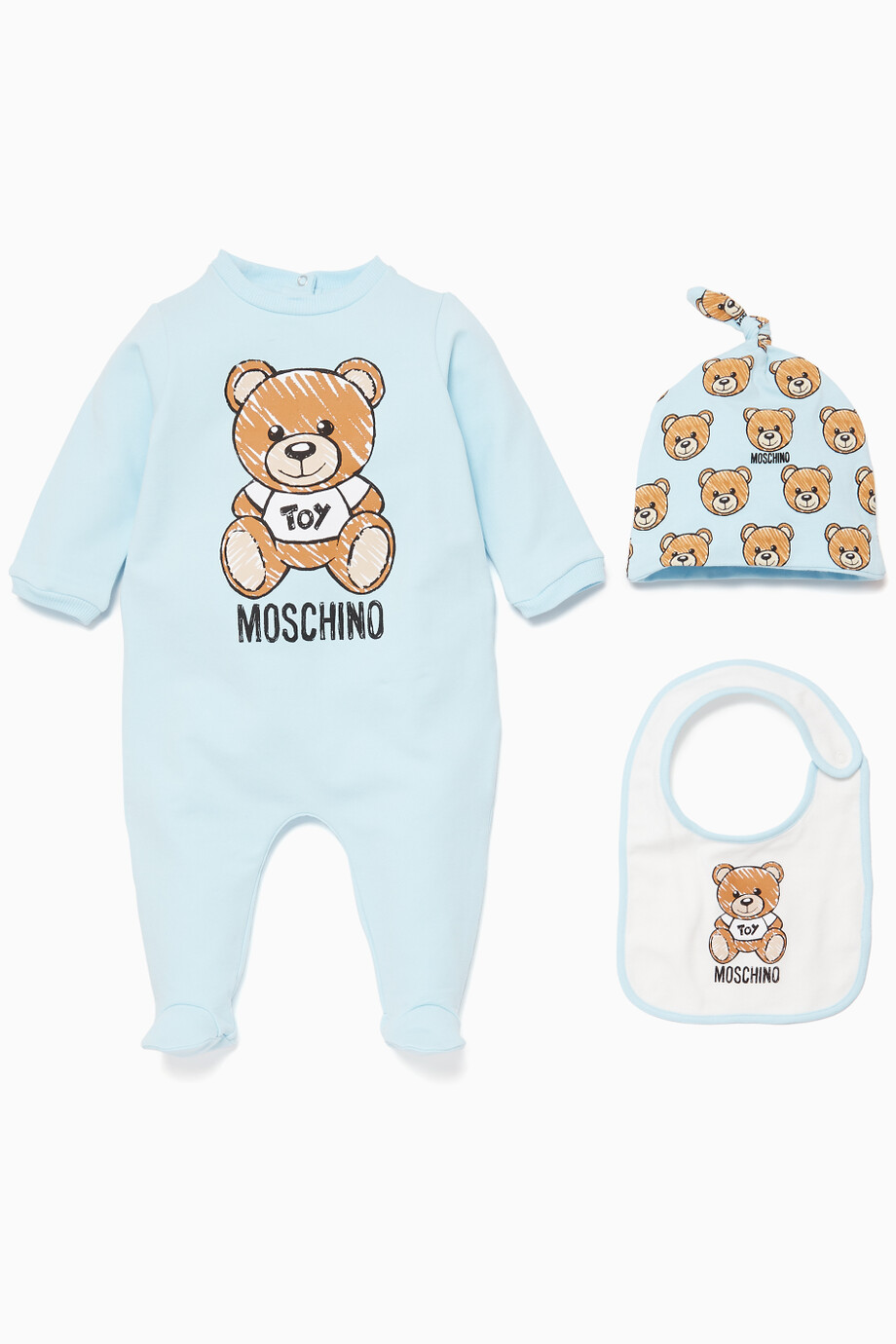 5e4b9be5572 Shop Moschino Blue Three-Piece Teddy Print Gift Set for Kids