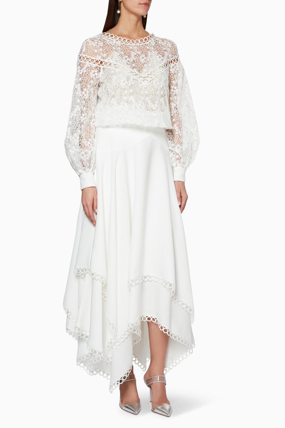 c52ab7ee16d Shop Özgür Masur White White Lace Top   Skirt Set for Women
