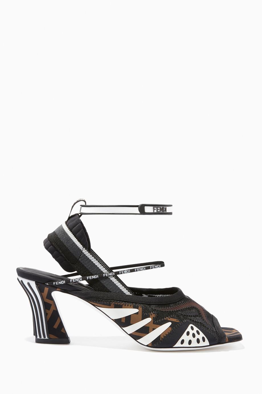 f0b494f21c38 Shop Fendi Black Freedom Panelled Neoprene Sandals for Women ...
