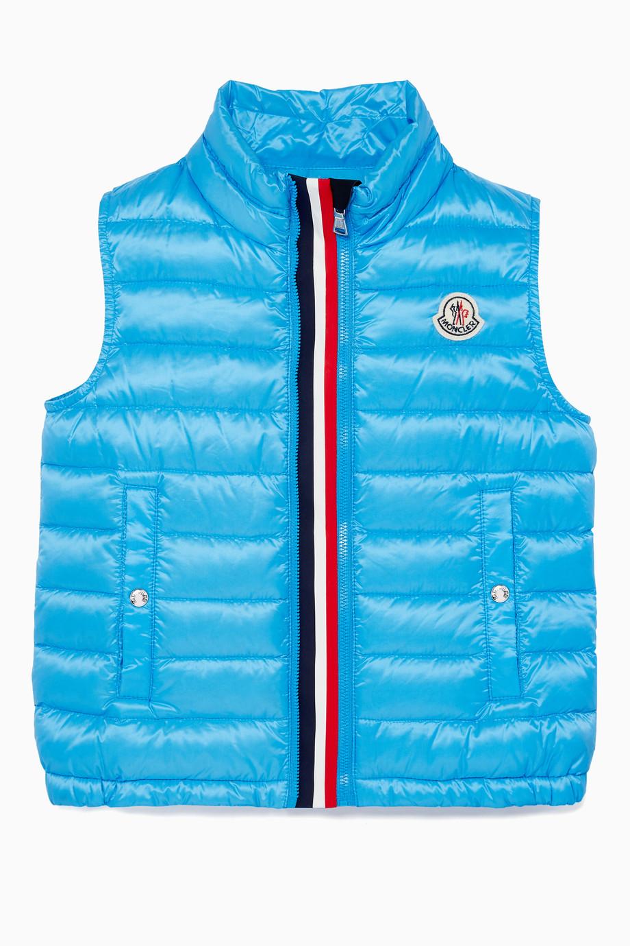 cfaf1eac3983 Shop Moncler Blue Blue Feather-Quilted Vest for Kids