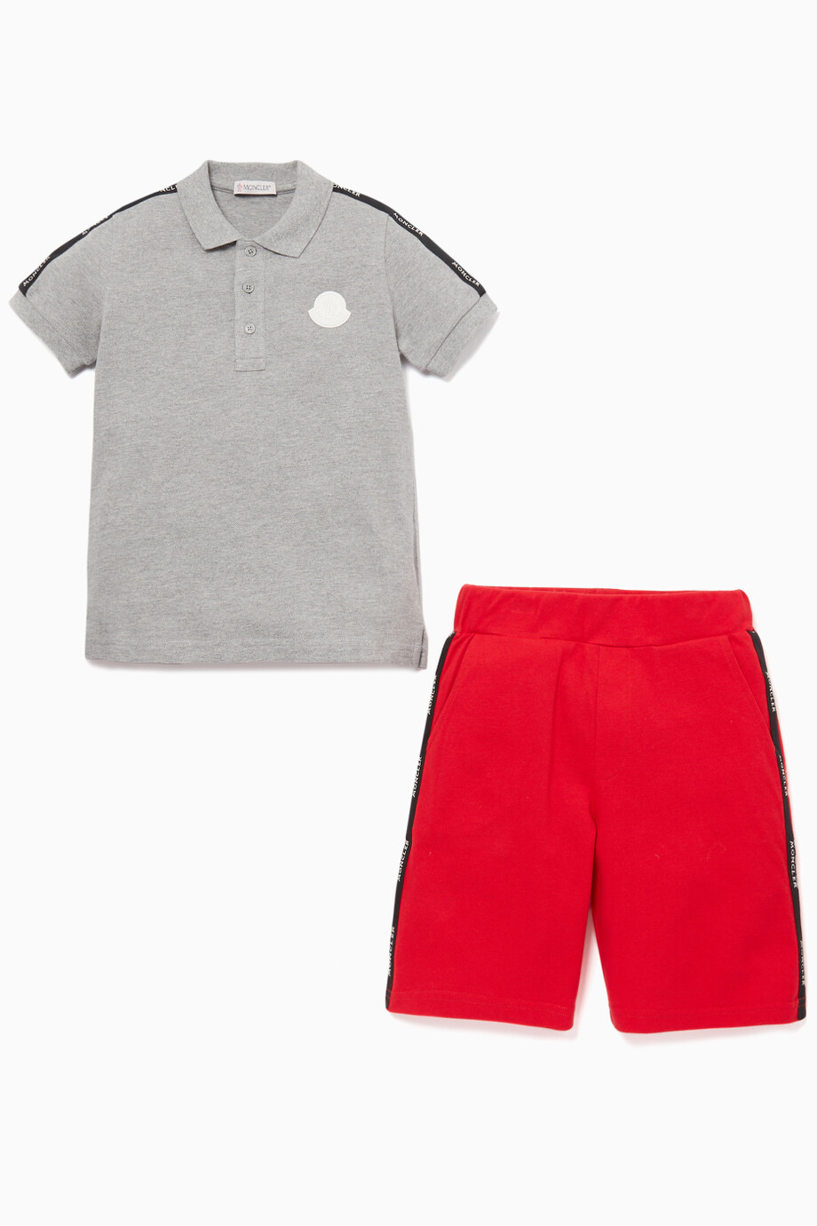 c3ede588e Shop Moncler Grey Polo Shirt & Shorts Set for Kids | Ounass