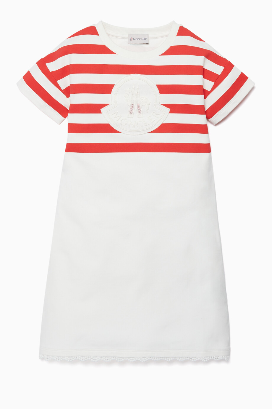 94ddd24f104f Shop Moncler Red Red   White Striped Dress for Kids