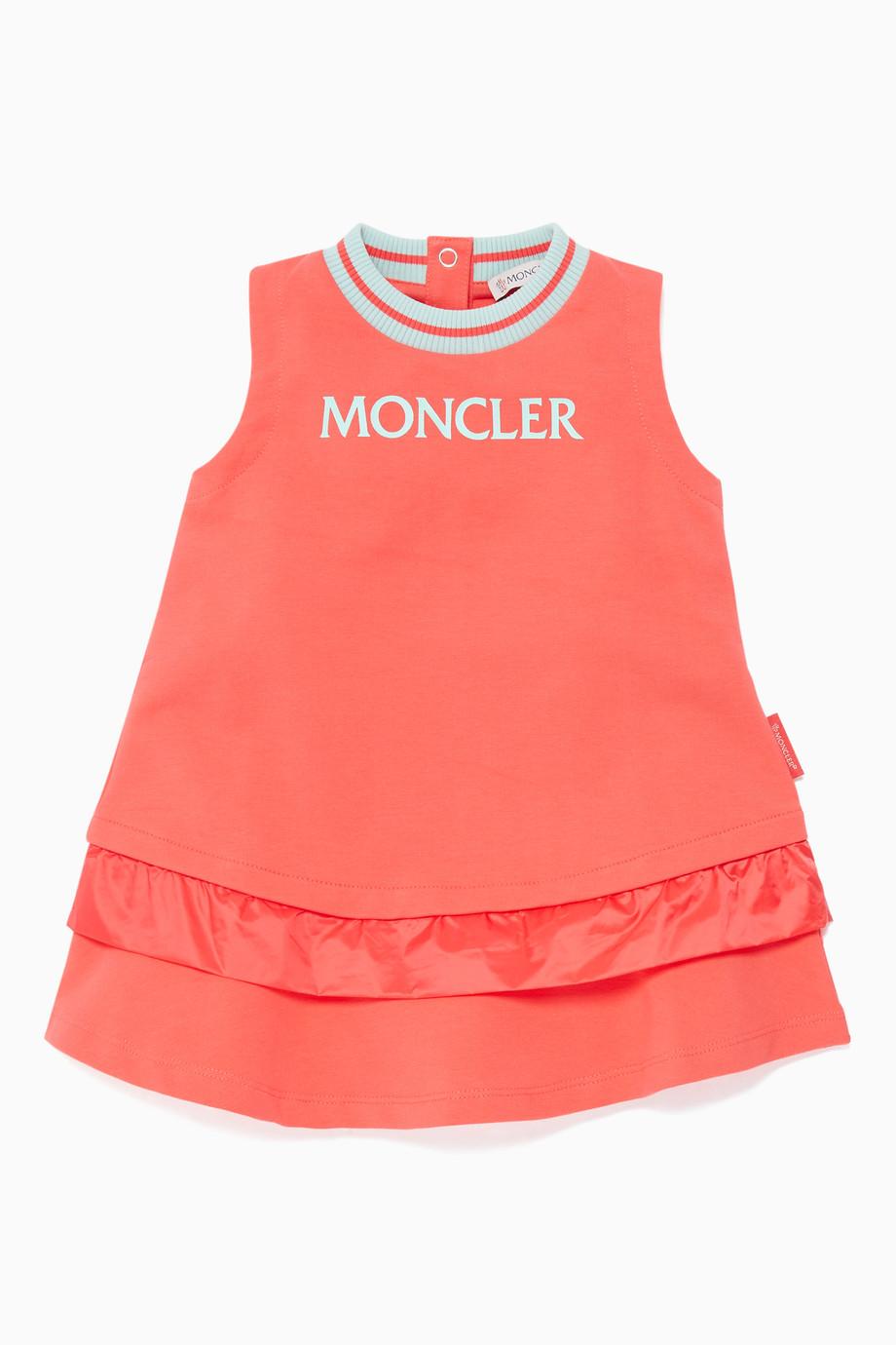 785882983 Shop Moncler Red Coral Logo Print Sleeveless Dress for Kids | Ounass