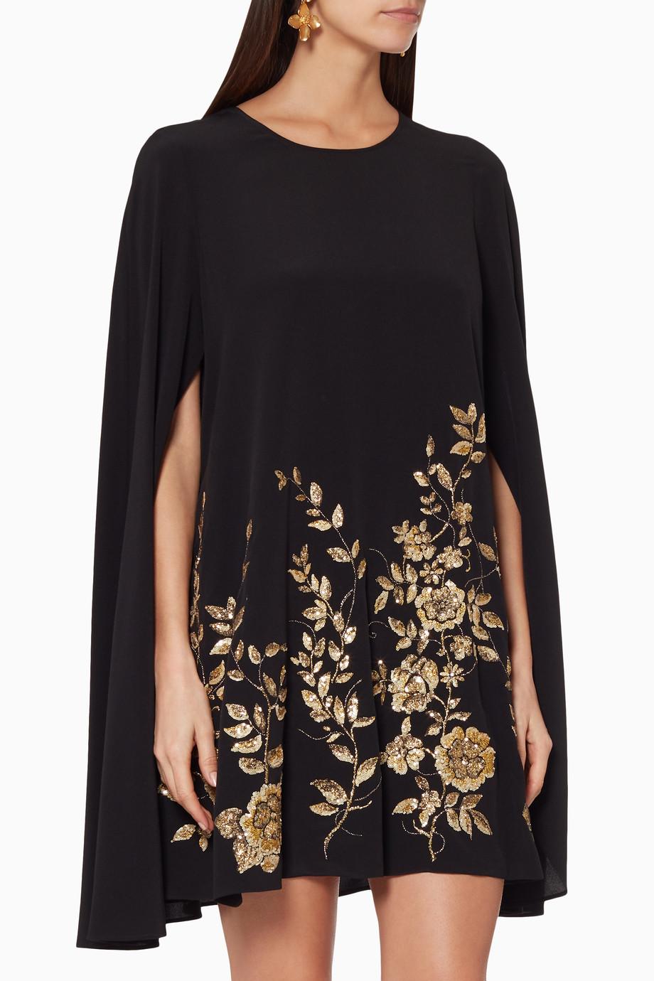 620d7f9964 Shop Etro Black Floral Sequin Embellished Cape Dress for Women ...