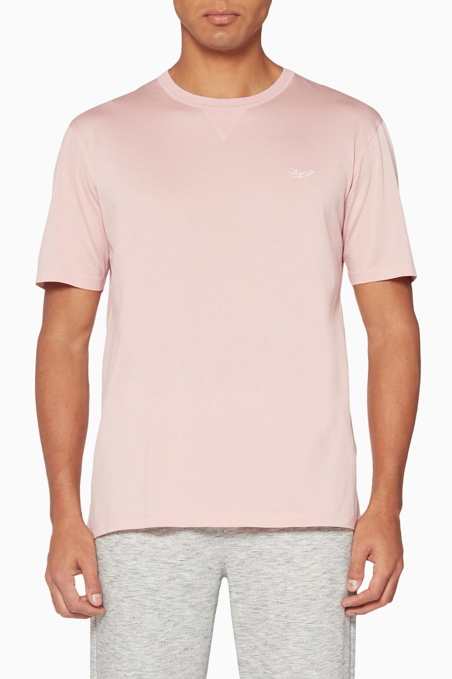 ba92e74c Shop Ermenegildo Zegna Pink Pale-Pink Mercerized Cotton T-Shirt for ...