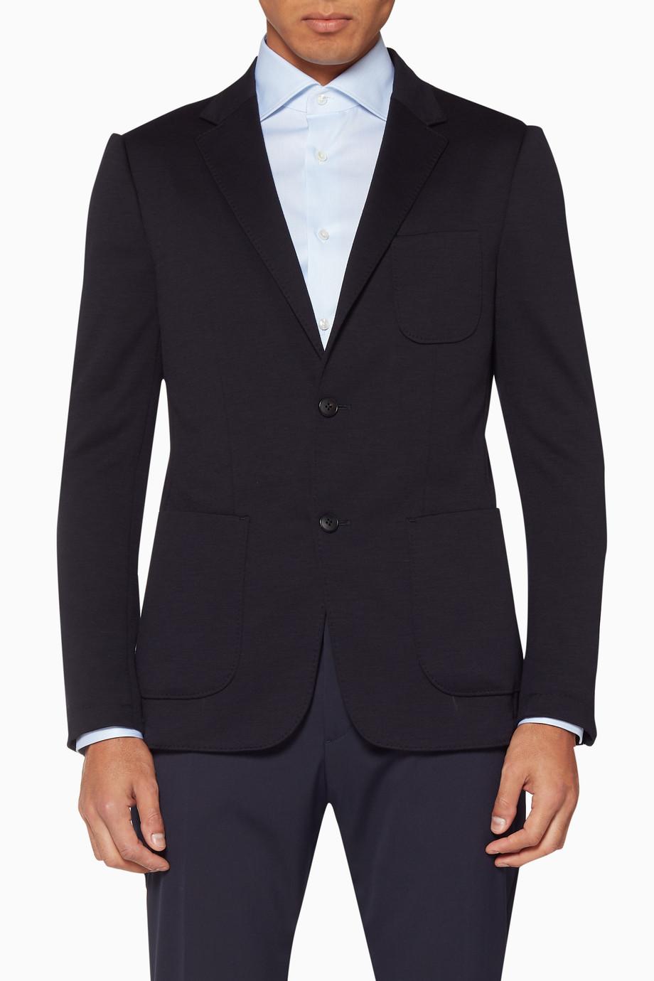 69504b3d42 Shop Z Zegna Blue Navy-Blue Wash & Go TECHMERINO™ Blazer for Men ...