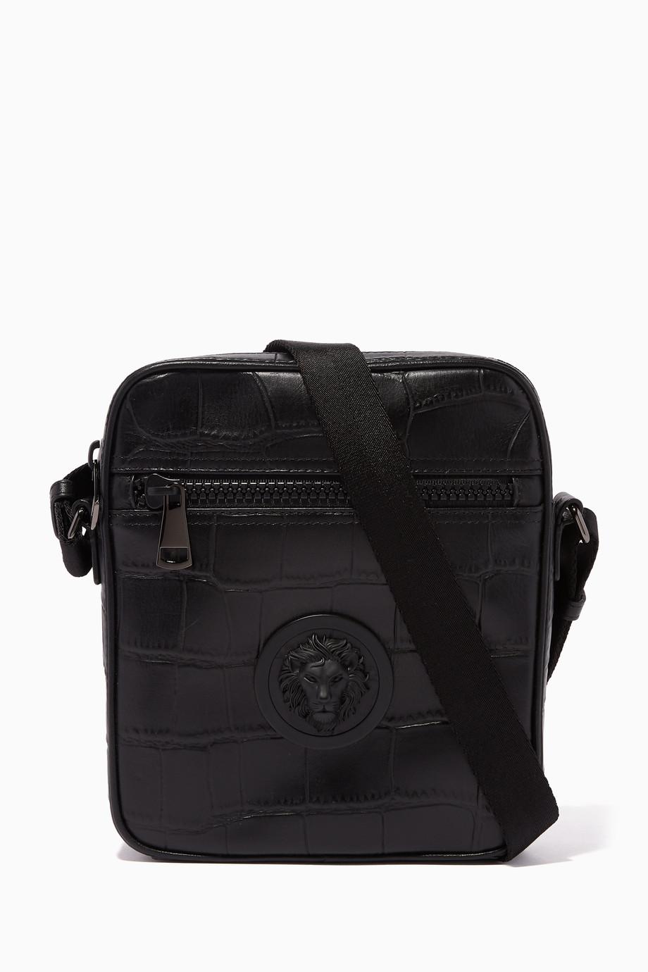 4569bd13 Shop Versus Versace Black Black Leather Lion Head Croc-Effect ...
