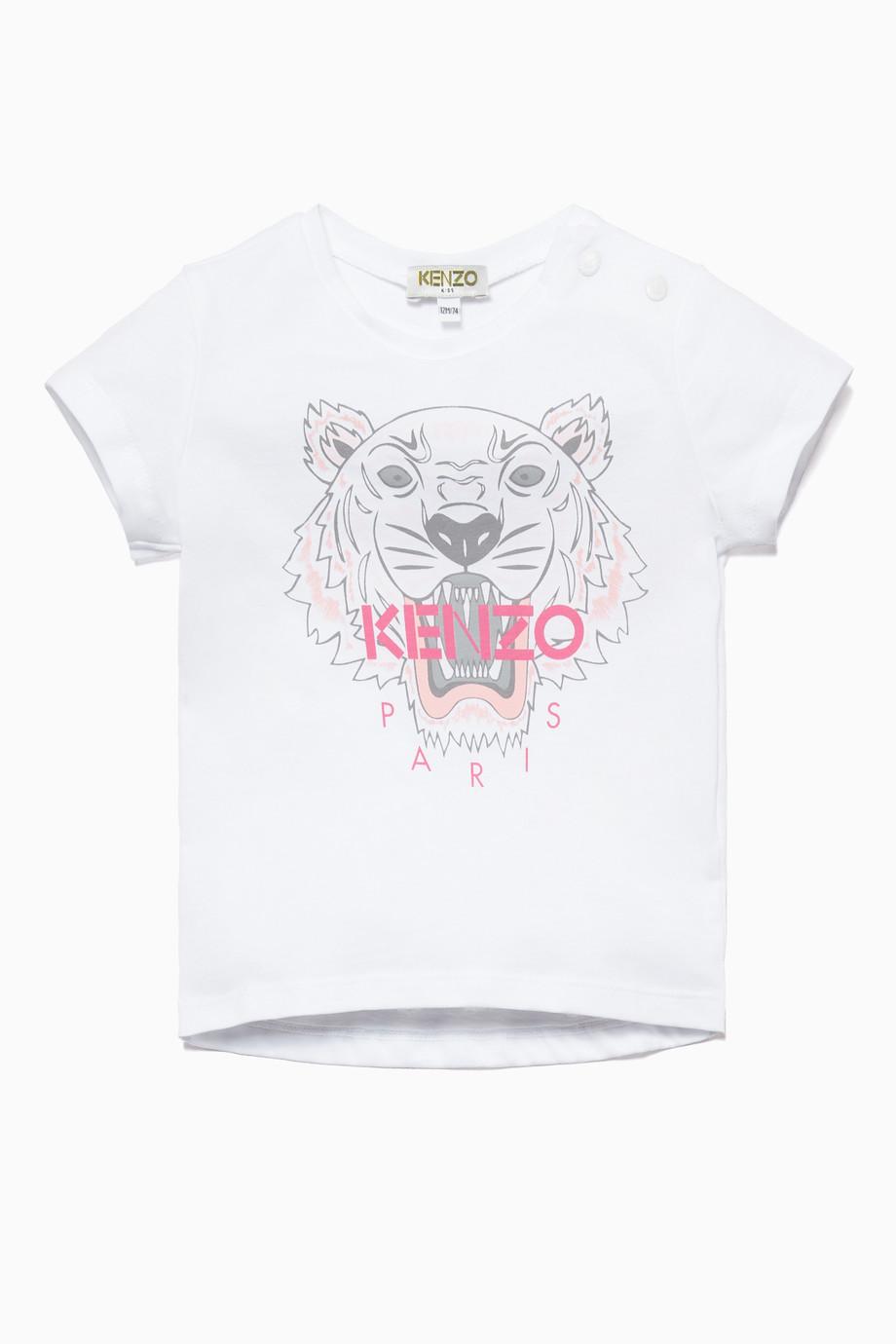 7384d9b8 Shop Kenzo White White & Pink Tiger Logo T-Shirt for Kids | Ounass