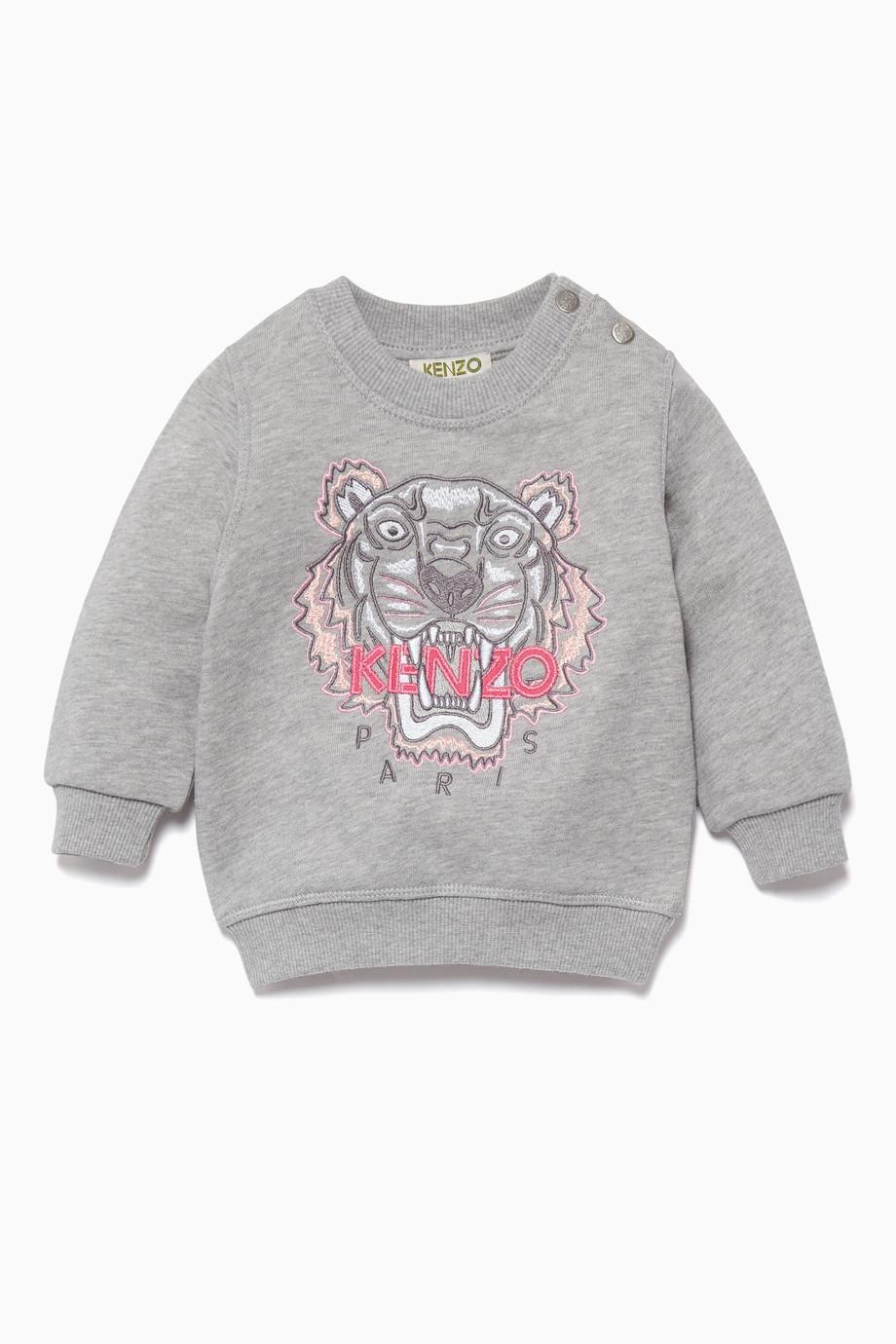 2d284c39b65 Shop Kenzo Grey Grey   Pink Tiger Logo Sweatshirt for Kids