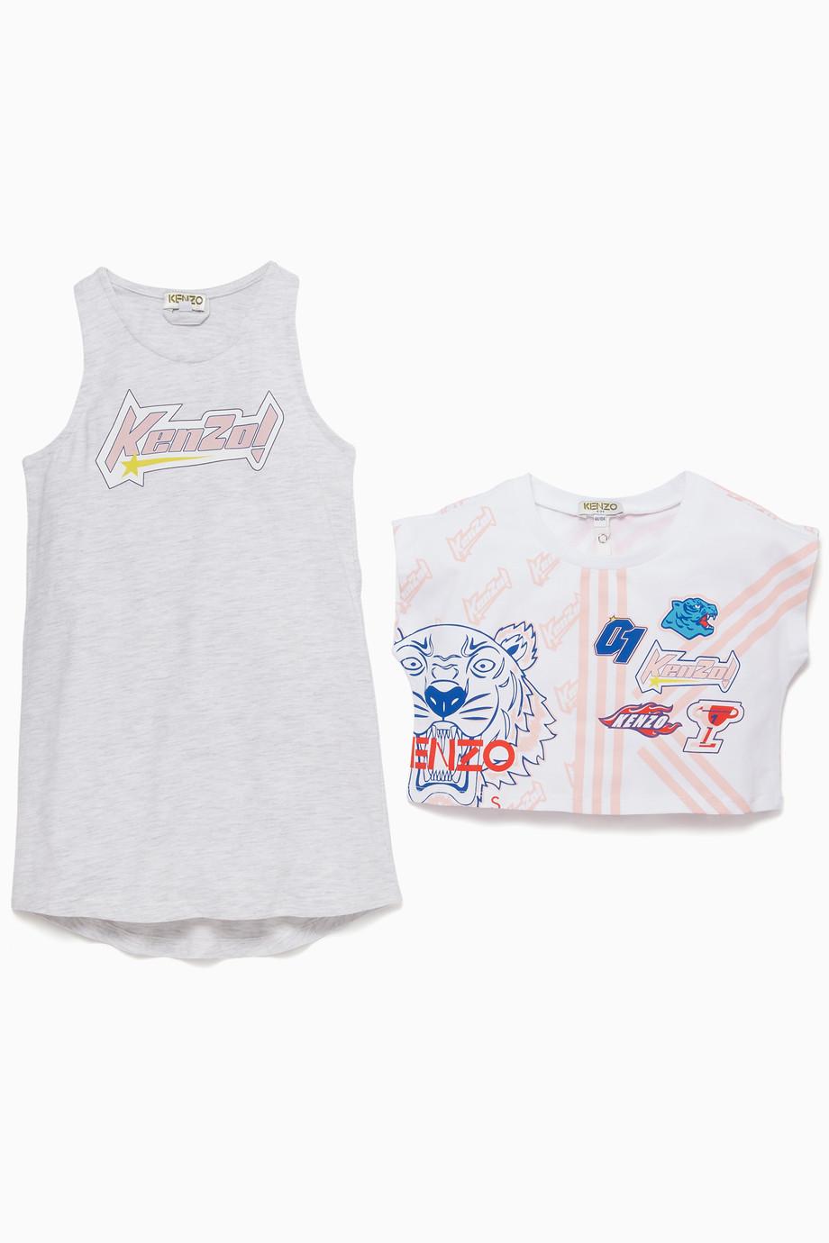 61b49be0 Shop Kenzo Grey Printed T-Shirt Dress Set for Kids | Ounass
