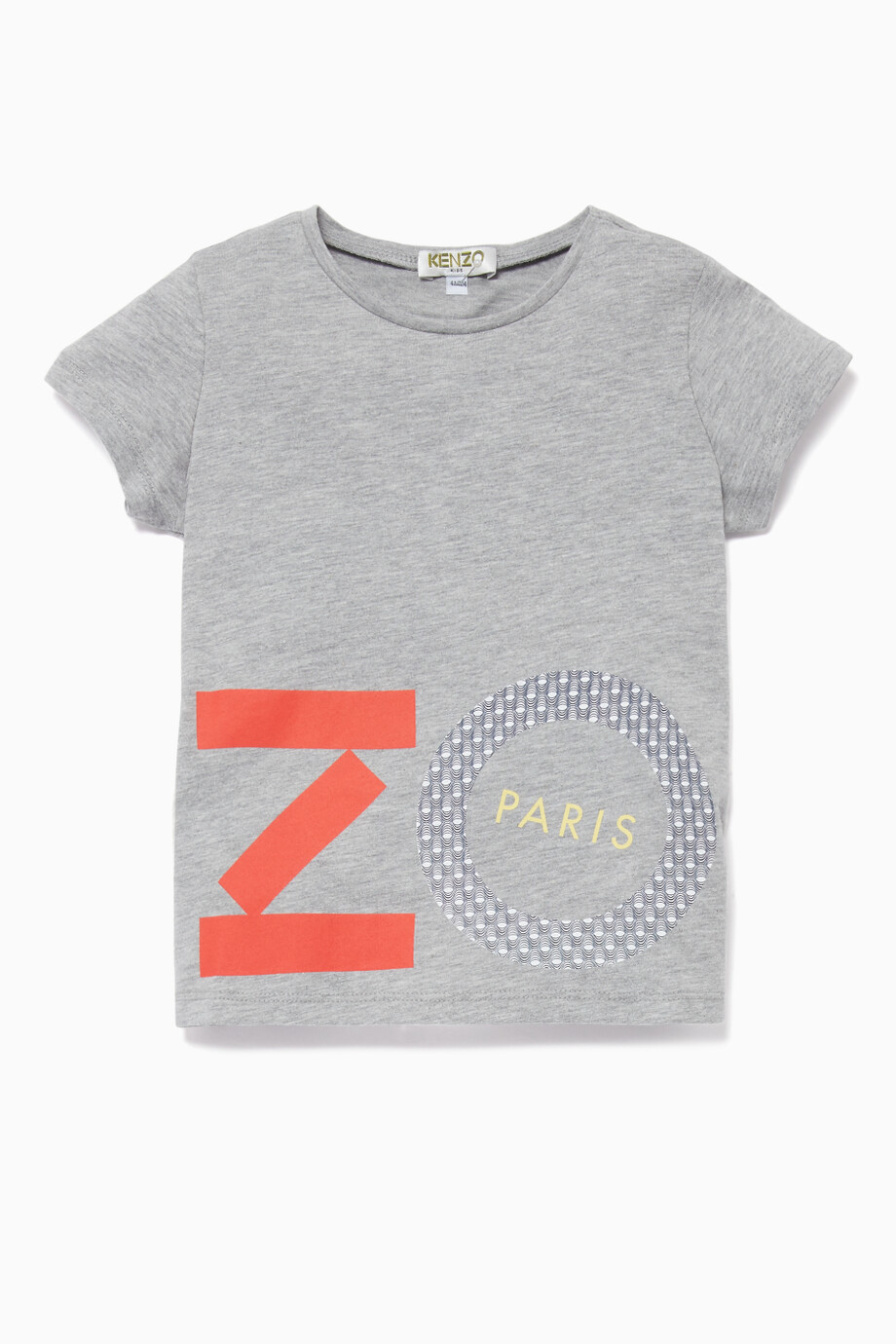 2da4fc8f5 Shop Kenzo Grey Geometric Logo Print T-Shirt for Kids | Ounass UAE