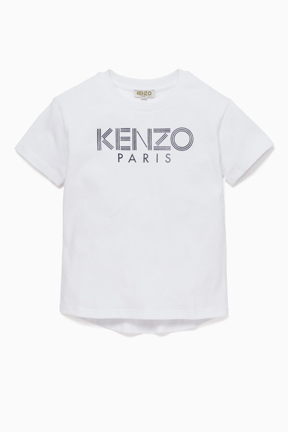 2c050e76d Shop Kenzo White Graphic Logo Print T-Shirt for Kids   Ounass Kuwait