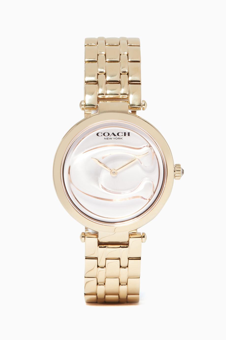 c1687531c تسوق ساعة بارك مزينة بشعار الماركة ذهبية Coach ذهبي للنساء | اُناس ...