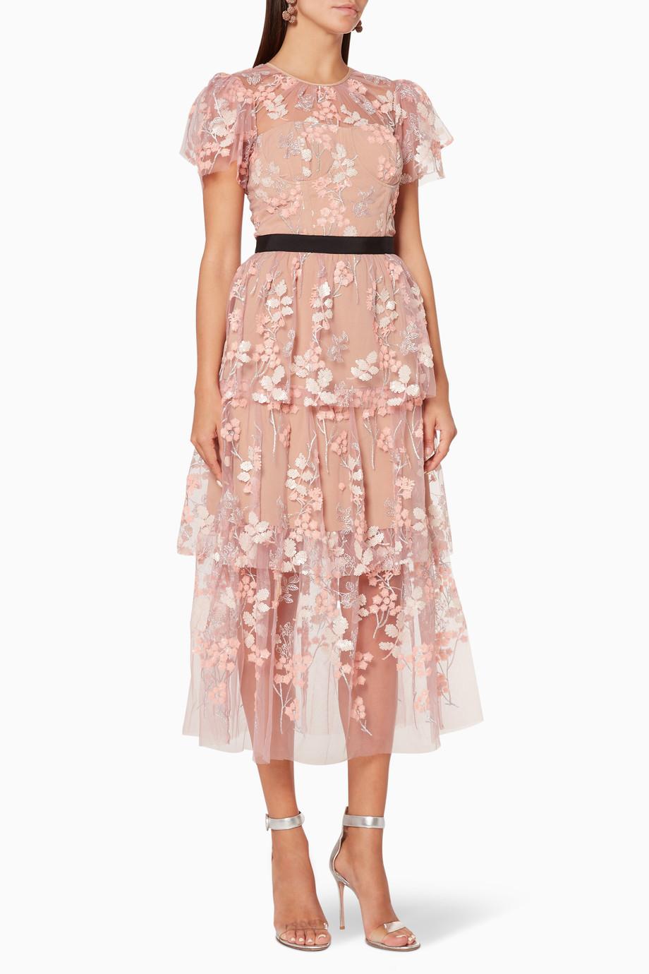 51a3a0dd10ab Shop Self-Portrait Pink Pastel-Pink Floral Embellished Midi Dress for ...