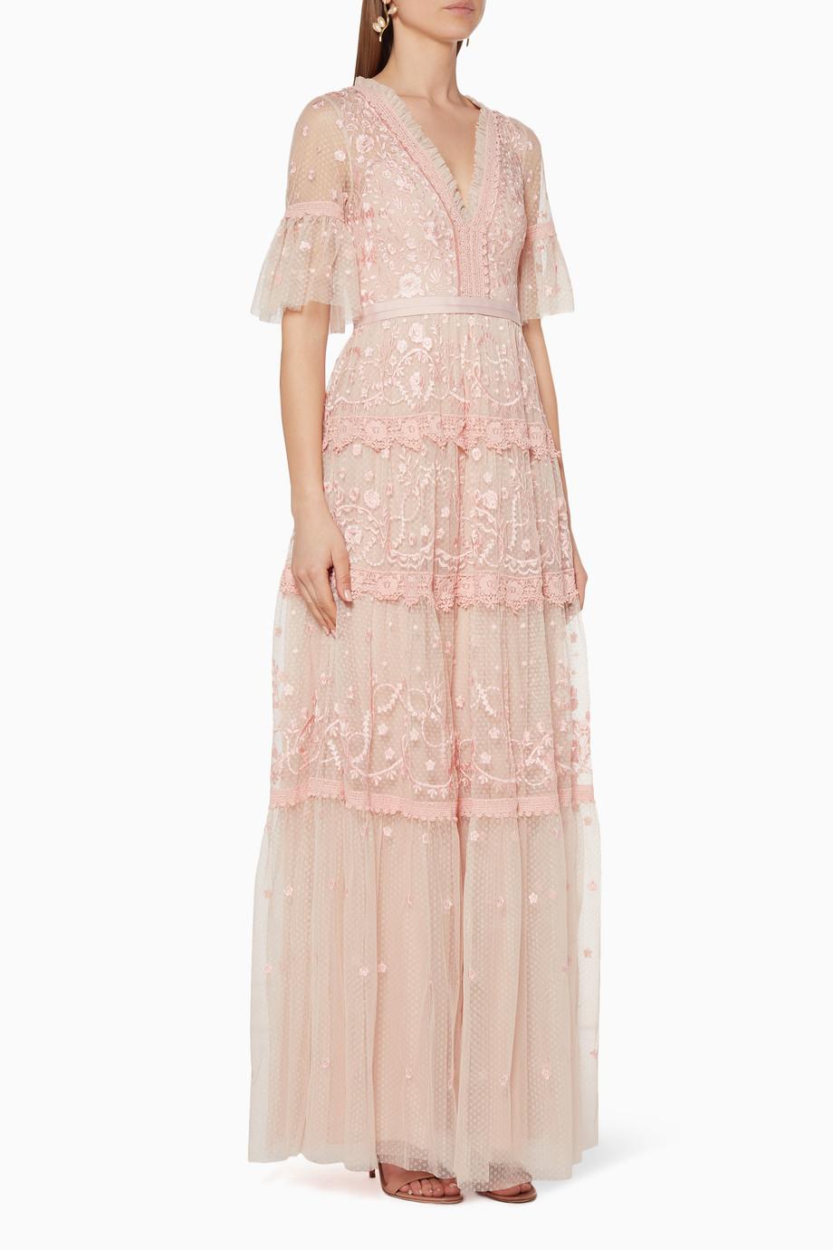 02ce74d4002d Shop Needle & Thread Pink Midsummer Lace Gown for Women ...