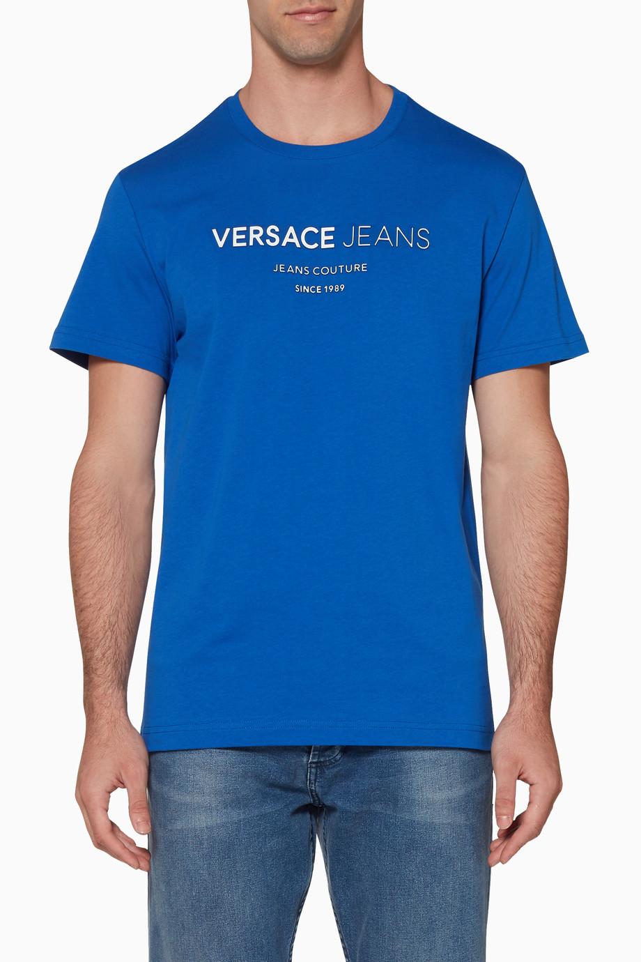 5e7fc90e3 Shop Versace Jeans Blue Blue & White Logo T-Shirt for Men | Ounass Saudi