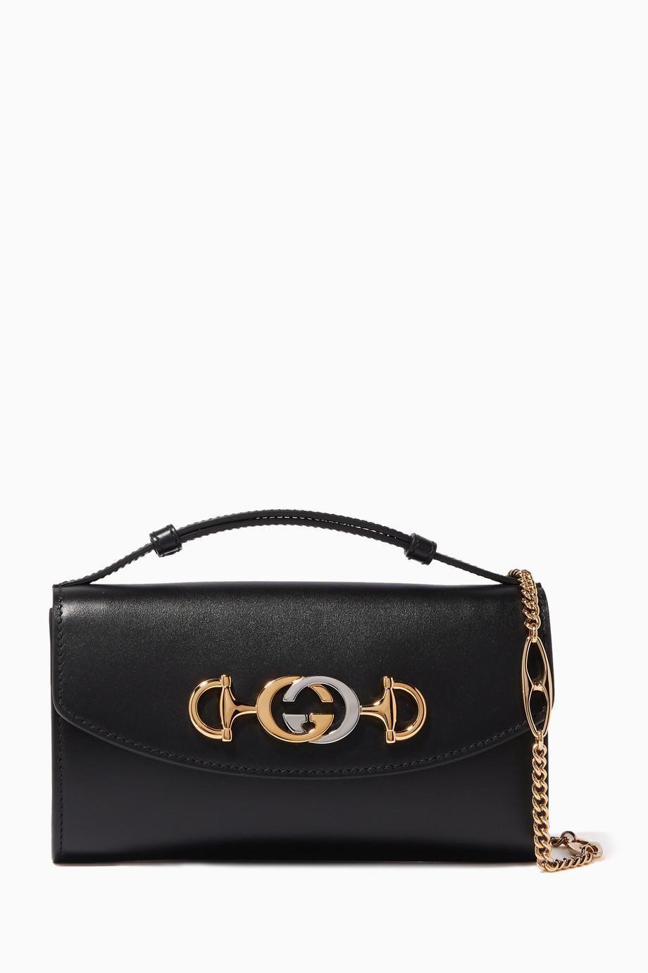 36c4674fc074 Shop Gucci Black Zumi Mini Leather Cross-Body Bag for Women