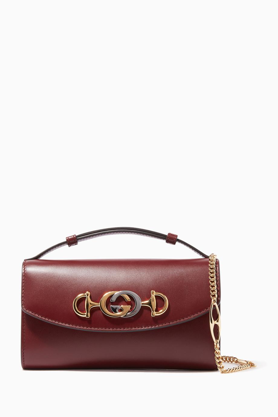a91a0808a Shop Gucci Burgundy Zumi Mini Leather Cross-Body Bag for Women ...