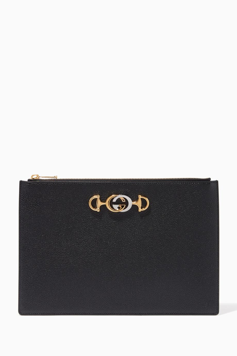 fa77cd3336b8 Shop Gucci Black Zumi Grainy Leather Pouch for Women