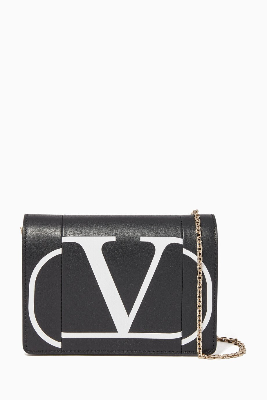 8c0b088070 Shop Valentino Black Escape Logo Leather Wallet for Women | Ounass ...