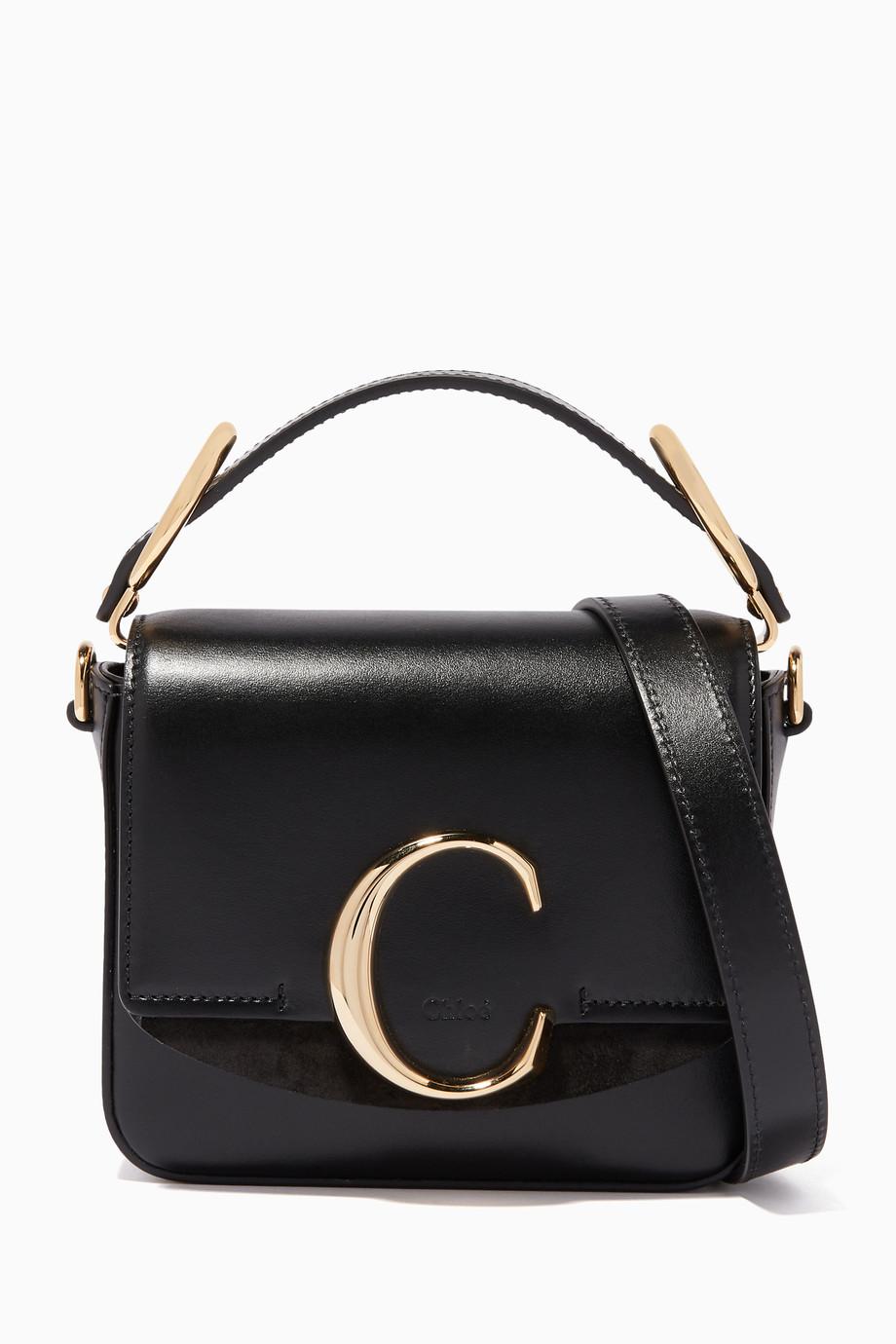 0c8f1150 Shop Chloé Black Mini Chloé C Shiny-Leather Shoulder Bag for Women ...