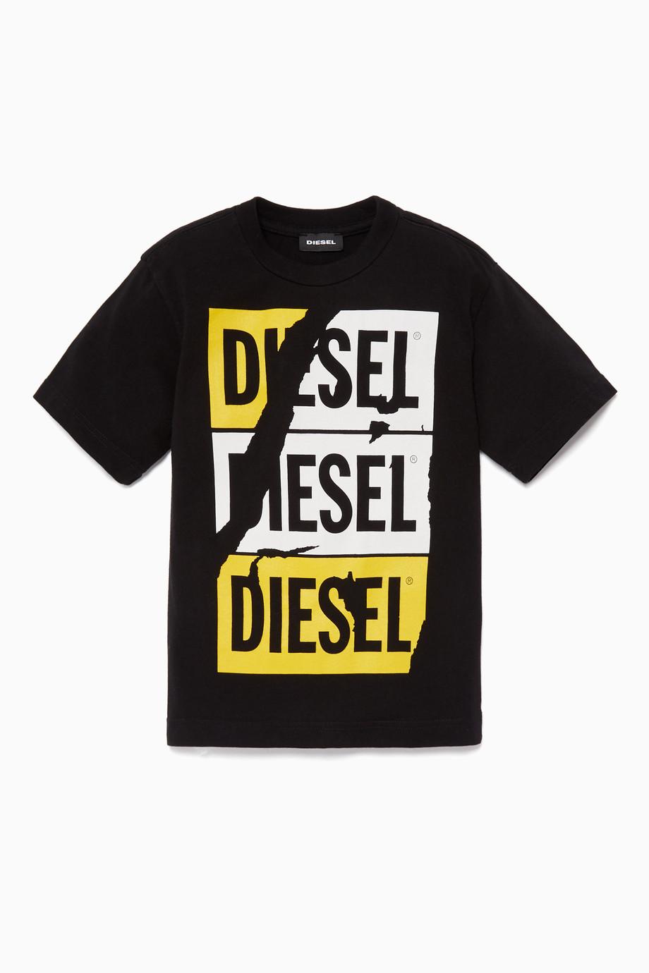 afb287fe8 Shop Diesel Black Black Logo Graphic T-Shirt for Kids | Ounass Bahrain