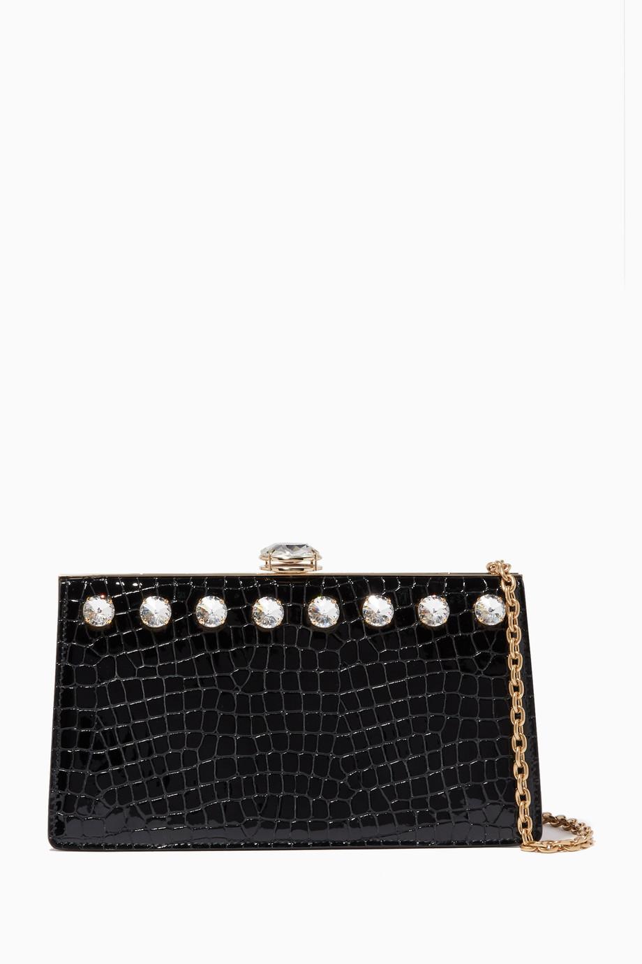 4cc71197e658d Shop Miu Miu Black Solitaire Crocodile-Effect Clutch Bag for Women ...